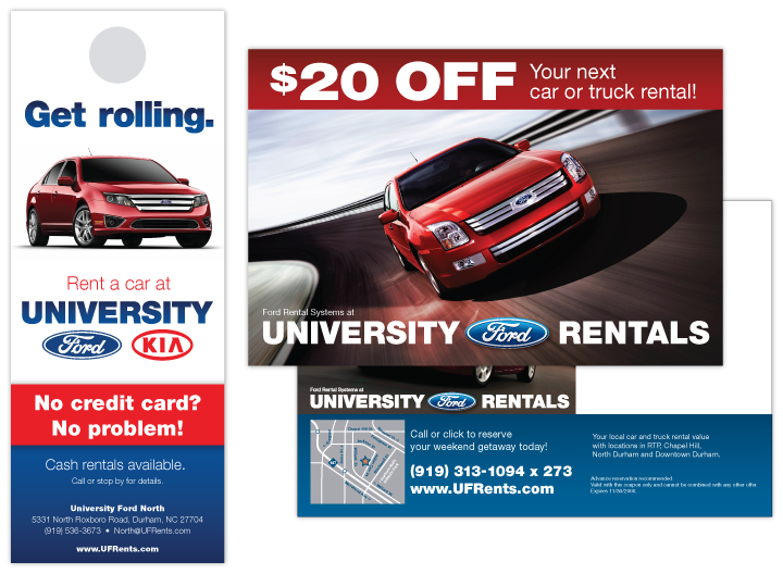 Image of print marketing materials for local car rental company