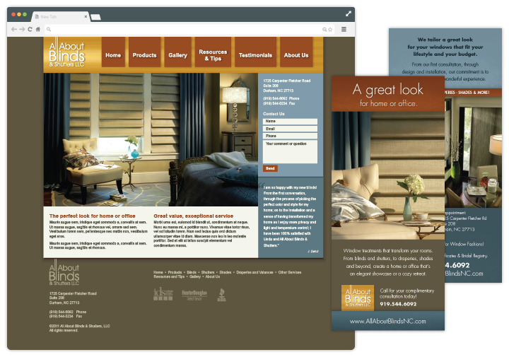 Image of website and brochure for interior decorator by John Paredes Design
