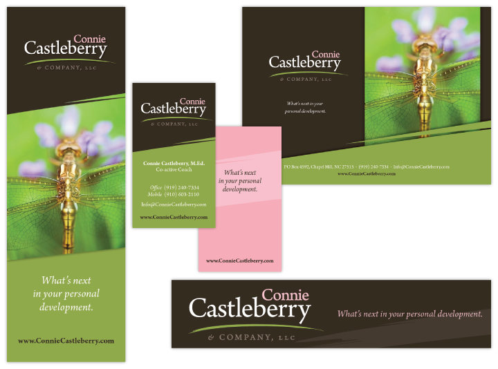 Image of print marketing pieces for personal coach