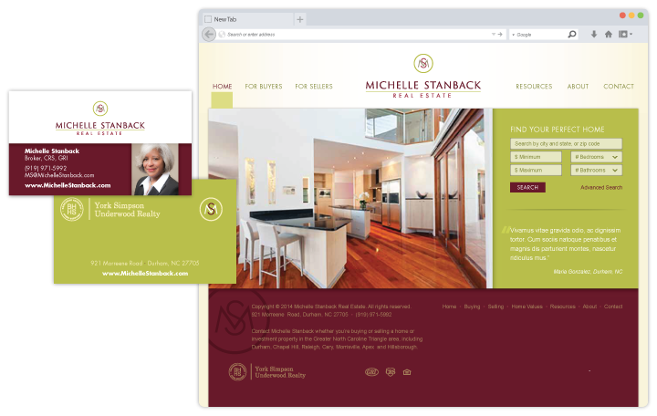Image of website, logo and business card design for a local real estate agent